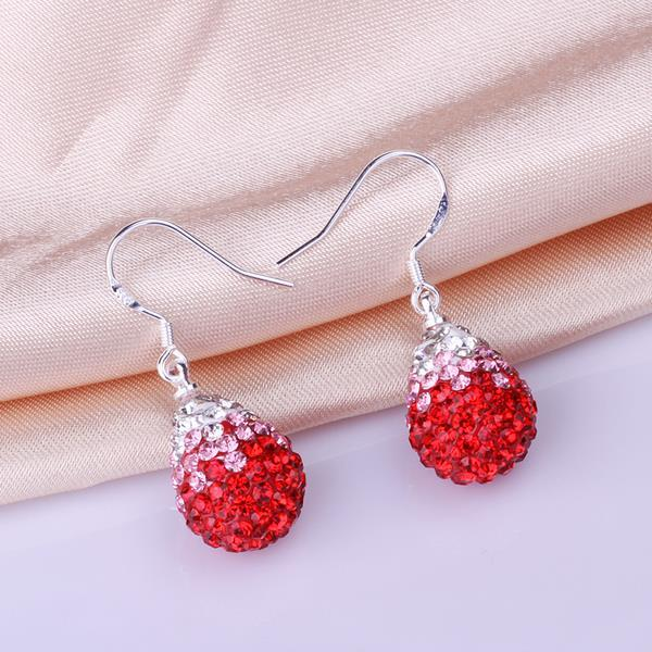 Vienna Jewelry Oval Shaped Swarovksi Element Drop Earrings-Ruby - Thumbnail 0