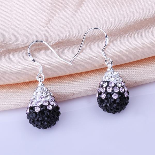 Vienna Jewelry Oval Shaped Swarovksi Element Drop Earrings-Onyx - Thumbnail 0