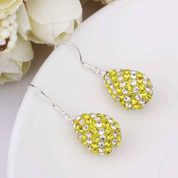 Vienna Jewelry Two Toned Swarovksi Element Pear Shaped Drop Earrings-Yellow Citrine