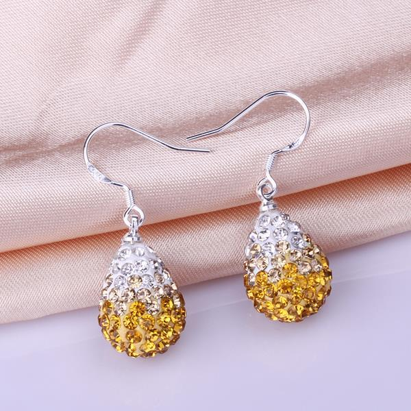 Vienna Jewelry Oval Shaped Swarovksi Element Drop Earrings-Yellow Citrine