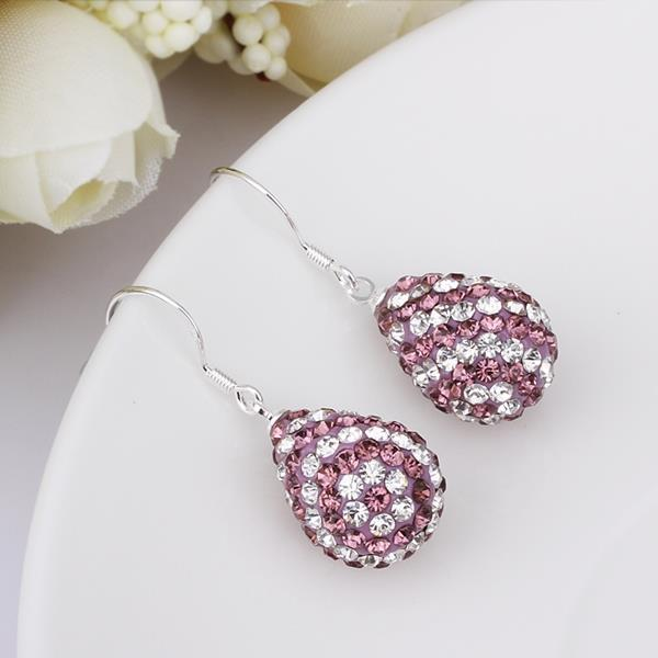 Vienna Jewelry Two Toned Swarovksi Element Pear Shaped Drop Earrings-Light Lavender