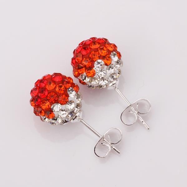 Vienna Jewelry Two Toned Swarovksi Element Stud Earrings- Dark Ruby