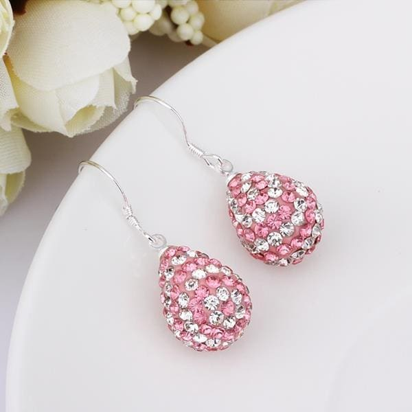 Vienna Jewelry Two Toned Swarovksi Element Pear Shaped Drop Earrings- Light Coral