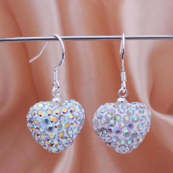 Vienna Jewelry Heart Shaped Solid Swarovksi Element Drop Earrings- Bright Crystal