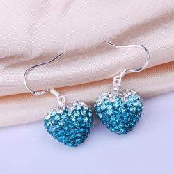 Vienna Jewelry Heart Shaped Swarovksi Element Drop Earrings-Light Saphire