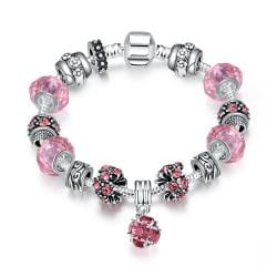Vienna Jewelry 50 Shades of Pink Pandora Inspired Bracelet