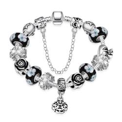 Vienna Jewelry Dark Floral Night Pandora Inspired Bracelet