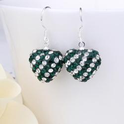 Vienna Jewelry Two Toned Swarovksi Element Hearts Drop Earrings-Dark Emerald