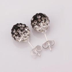 Vienna Jewelry Two Toned Swarovksi Element Stud Earrings- Dark Onyx - Thumbnail 0