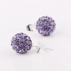 Vienna Jewelry Vivid Dark Swarovksi Element Lavender Stud Earrings - Thumbnail 0