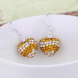 Vienna Jewelry Swarovksi Element Pave Heart Drop Earrings- Orange Citrine