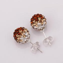 Vienna Jewelry Two Toned Swarovksi Element Stud Earrings- Dark Citrine - Thumbnail 0