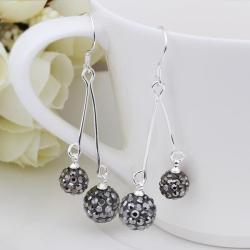 Vienna Jewelry Swarovksi Element Drop Earrings-Bright Onyx
