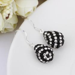 Vienna Jewelry Two Toned Swarovksi Element Pear Shaped Drop Earrings-Onyx - Thumbnail 0
