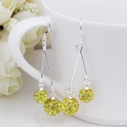 Vienna Jewelry Swarovksi Element Drop Earrings-Yellow Citrine