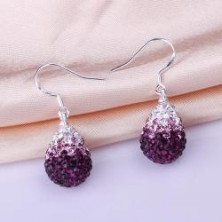 Vienna Jewelry Oval Shaped Swarovksi Element Drop Earrings-Dark Lavender - Thumbnail 0