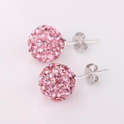 Vienna Jewelry Vivid Light Coral Swarovksi Element Crystal Stud Earrings - Thumbnail 0