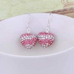 Vienna Jewelry Swarovksi Element Pave Heart Drop Earrings- Light Pink