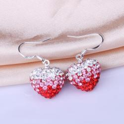 Vienna Jewelry Heart Shaped Swarovksi Element Drop Earrings-Dark Ruby