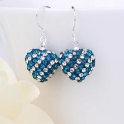 Vienna Jewelry Two Toned Swarovksi Element Hearts Drop Earrings-Dark Saphire