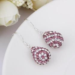 Vienna Jewelry Two Toned Swarovksi Element Pear Shaped Drop Earrings-Light Lavender - Thumbnail 0
