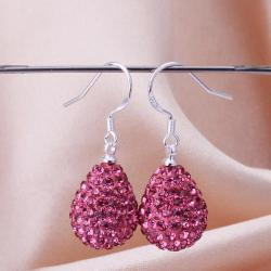 Vienna Jewelry Pear Shaped Solid Swarovksi Element Drop Earrings- Bright Coral