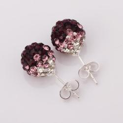 Vienna Jewelry Two Toned Swarovksi Element Stud Earrings- Dark Lavender - Thumbnail 0