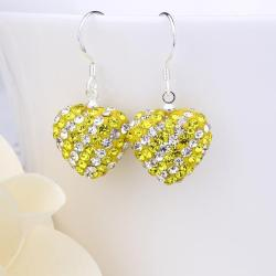 Vienna Jewelry Two Toned Swarovksi Element Hearts Drop Earrings-Light Yellow Citrine