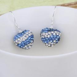 Vienna Jewelry Swarovksi Element Pave Heart Drop Earrings- Royal Saphire