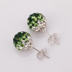 Vienna Jewelry Two Toned Swarovksi Element Stud Earrings- Dark Emerald - Thumbnail 0