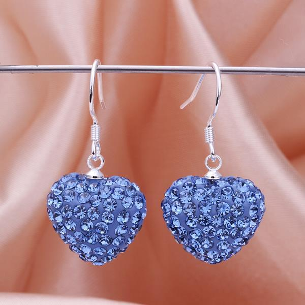 Vienna Jewelry Heart Shaped Solid Swarovksi Element Drop Earrings- Bright Saphire
