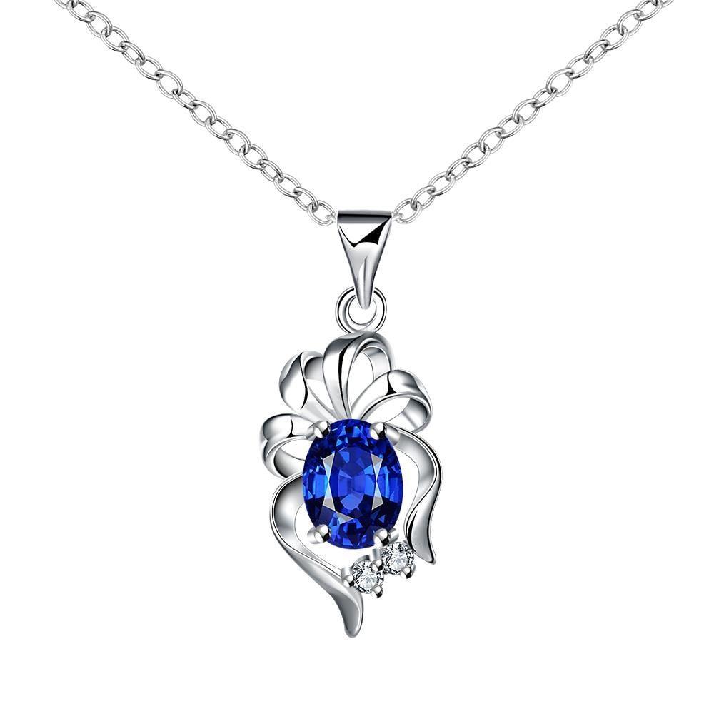 Vienna Jewelry Dangling Sapphire Floral Petal Drop Necklace