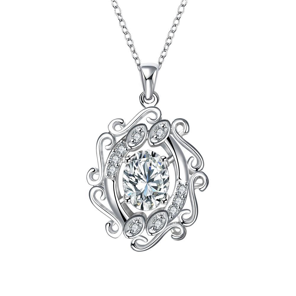 Vienna Jewelry Blossoming Spiral Crystal Stone Drop Necklace
