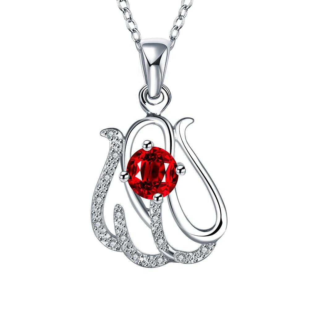 Vienna Jewelry Spiral Laser Cut Petite Ruby Emblem Drop Necklace