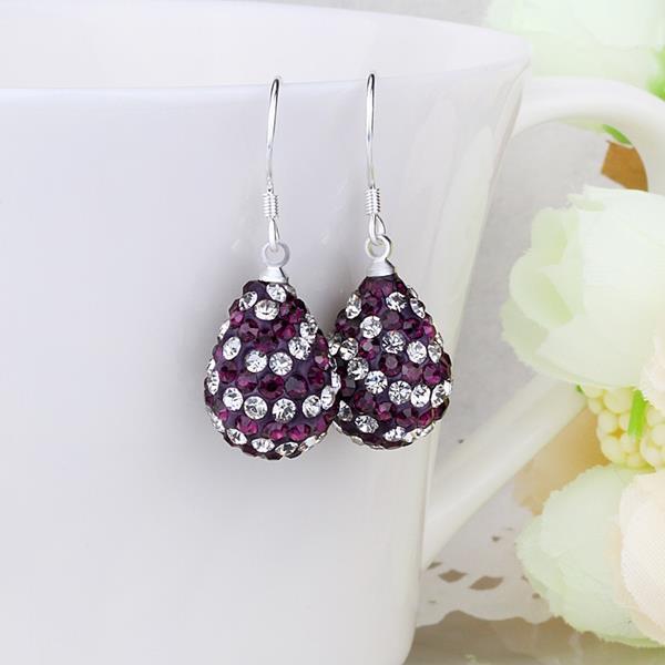 Vienna Jewelry Two Toned Swarovksi Element Pear Shaped Drop Earrings-Dark Lavender
