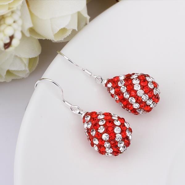 Vienna Jewelry Two Toned Swarovksi Element Pear Shaped Drop Earrings-Ruby