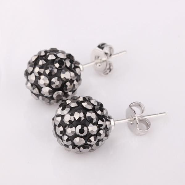 Vienna Jewelry Vivid Royal Onyx Swarovksi Element Crystal Stud Earrings