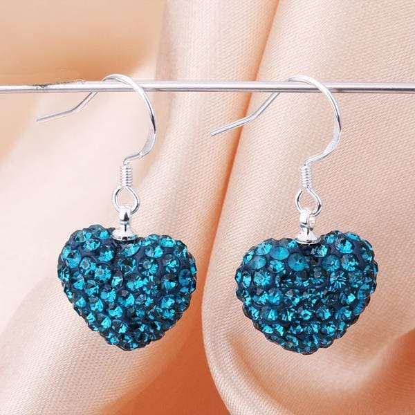 Vienna Jewelry Heart Shaped Solid Swarovksi Element Drop Earrings- Dark Saphire - Thumbnail 0