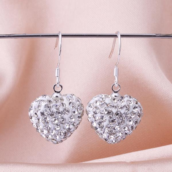 Vienna Jewelry Heart Shaped Solid Swarovksi Element Drop Earrings- Crystal