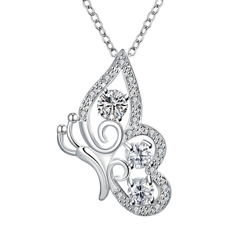 Vienna Jewelry Crystal Stone Spiral Butterfly Design Drop Necklace