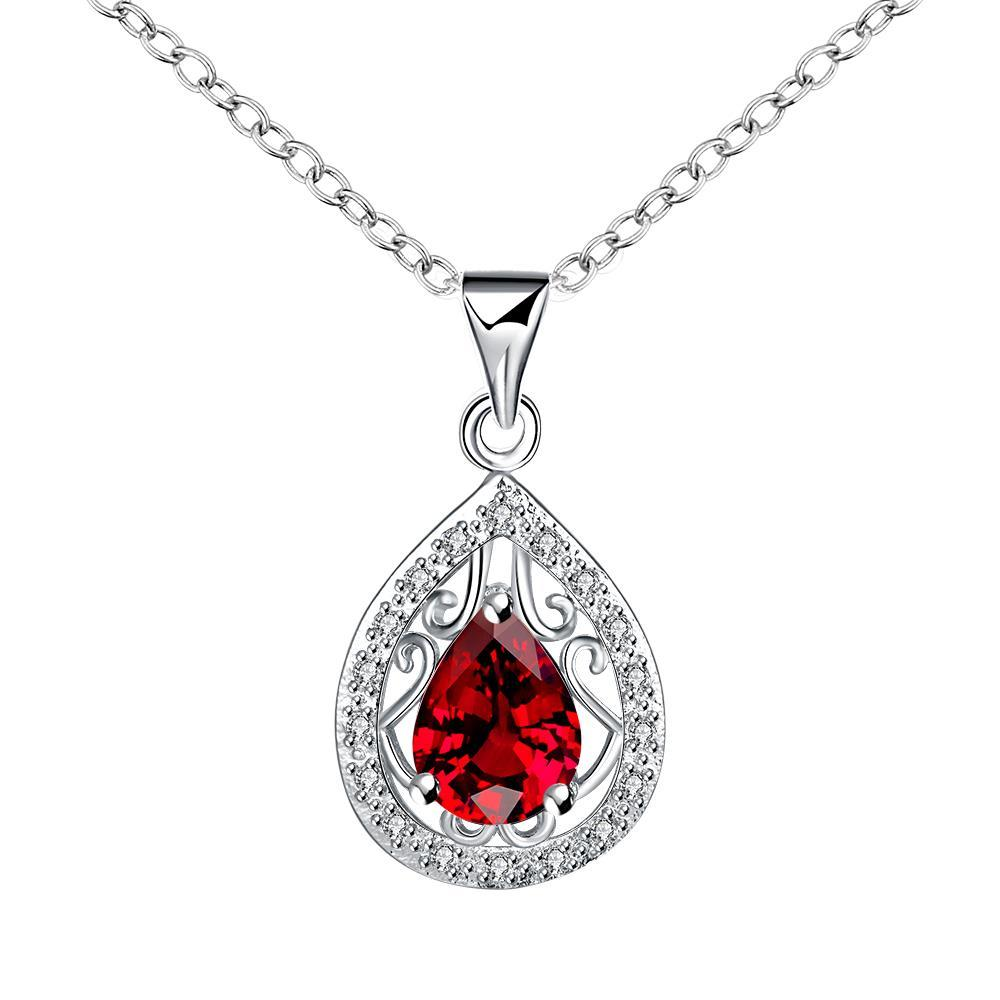 Vienna Jewelry Curved Ruby Red Pendant Drop Necklace
