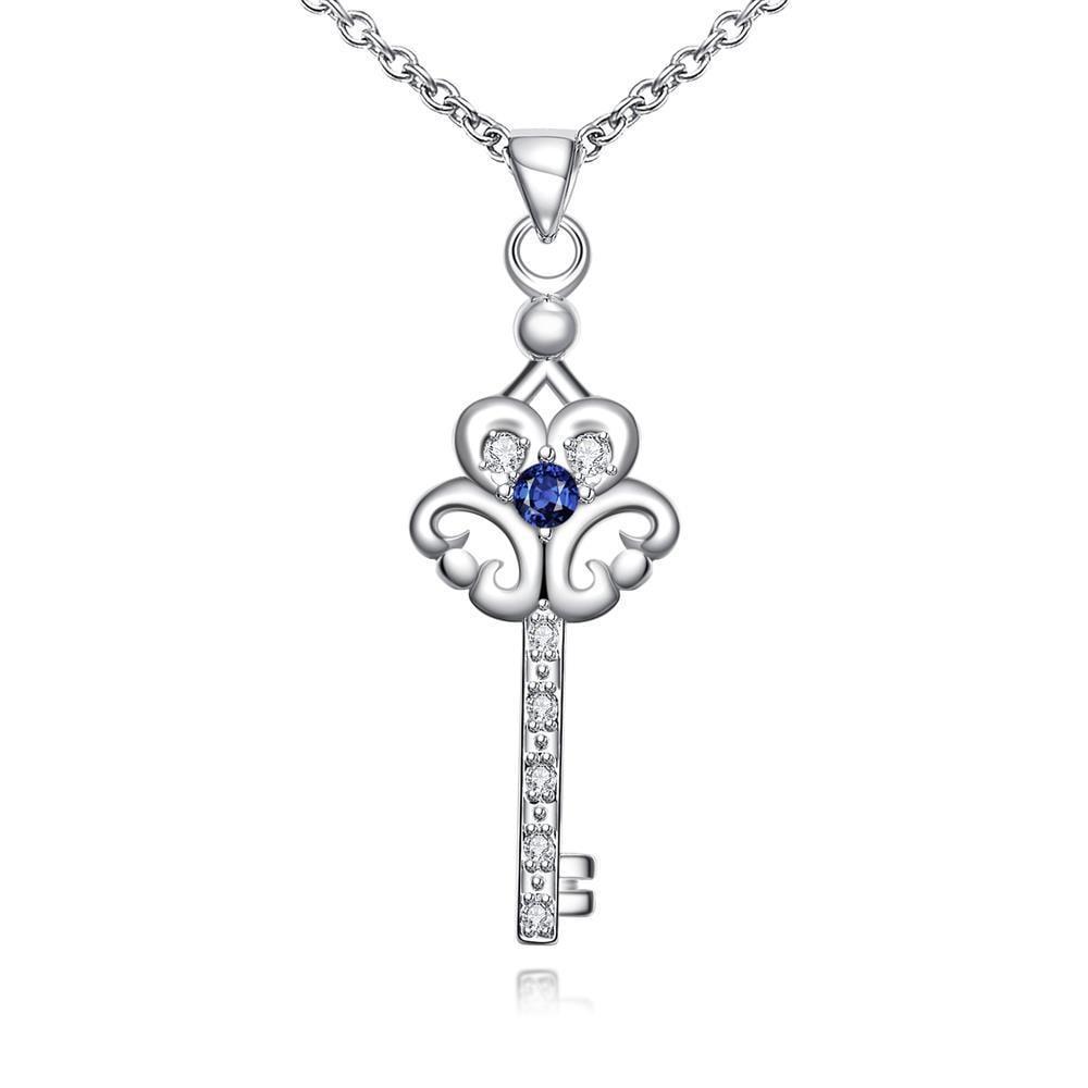 Vienna Jewelry Mock Sapphire Doorkey Emblem Drop Necklace