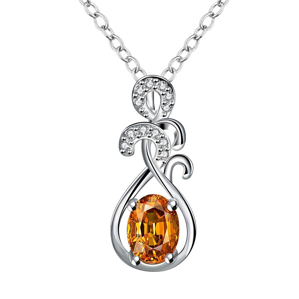 Vienna Jewelry Orange Citrine Drop Orchid Necklace