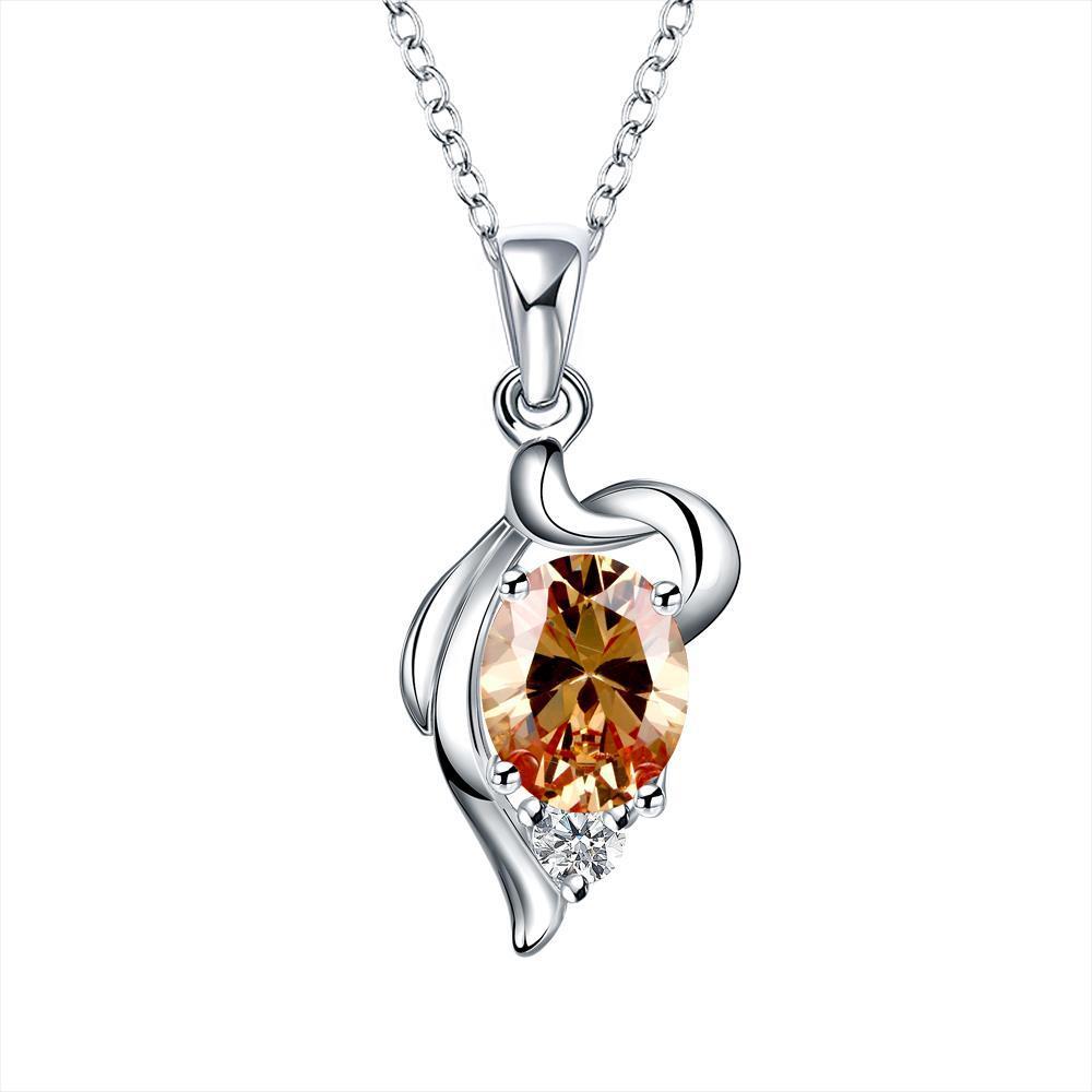 Vienna Jewelry Spiral Orange Citrine Emblem Drop Necklace