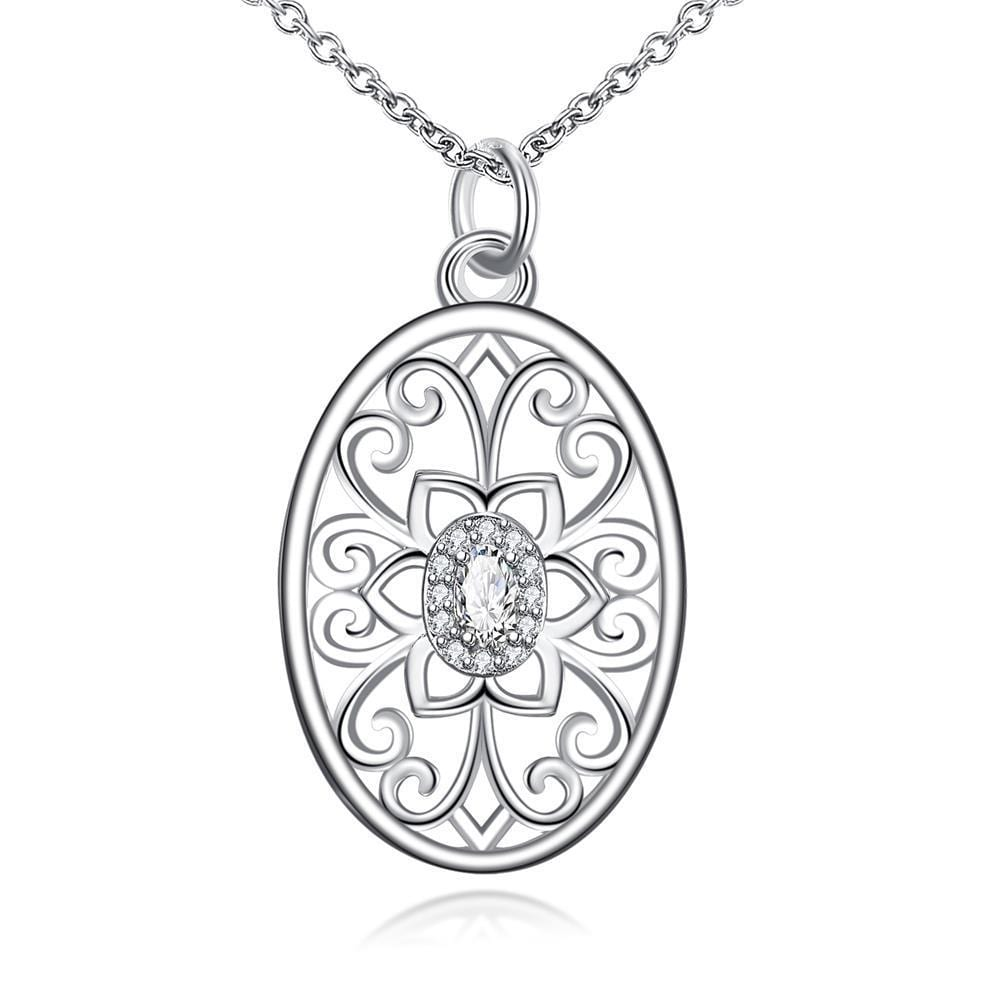Vienna Jewelry Floral Laser Cut Design Pendant Drop Necklace