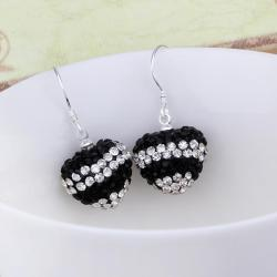 Vienna Jewelry Swarovksi Element Pave Heart Drop Earrings- Dark Onyx