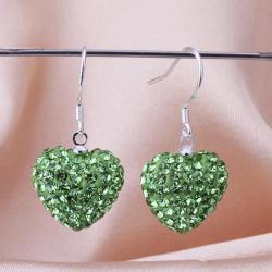 Vienna Jewelry Heart Shaped Solid Swarovksi Element Drop Earrings- Bright Emerald