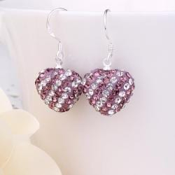 Vienna Jewelry Two Toned Swarovksi Element Hearts Drop Earrings-Light Lavender