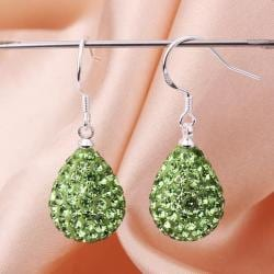 Vienna Jewelry Pear Shaped Solid Swarovksi Element Drop Earrings- Bright Emerald - Thumbnail 0
