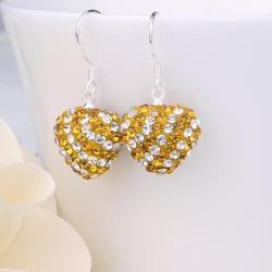 Vienna Jewelry Two Toned Swarovksi Element Hearts Drop Earrings-Yellow Citrine